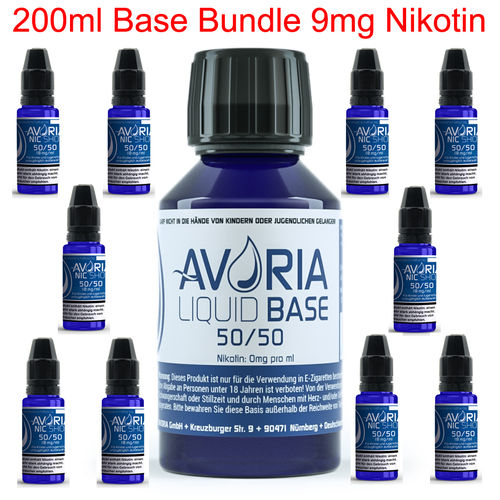 200ml Base / Nikotin Bundle 9mg - VPG 50/50