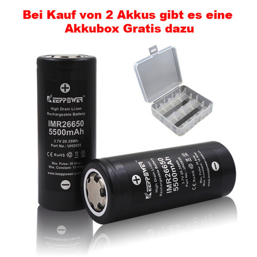 Keeppower IMR 26650 - 5500mAh - 15A - 3,6-3,7 Volt - Li-Ion Akku
